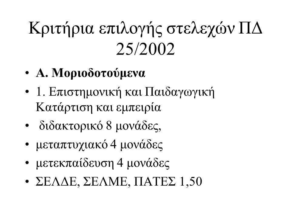 Κριτήρια επιλογής στελεχών ΠΔ 25/2002