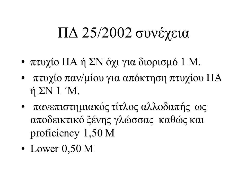 ΠΔ 25/2002 συνέχεια πτυχίο ΠΑ ή ΣΝ όχι για διορισμό 1 Μ.