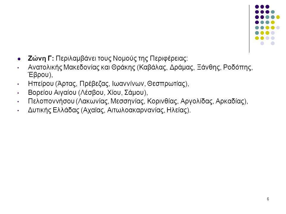 Ζώνη Γ: Περιλαμβάνει τους Νομούς της Περιφέρειας: