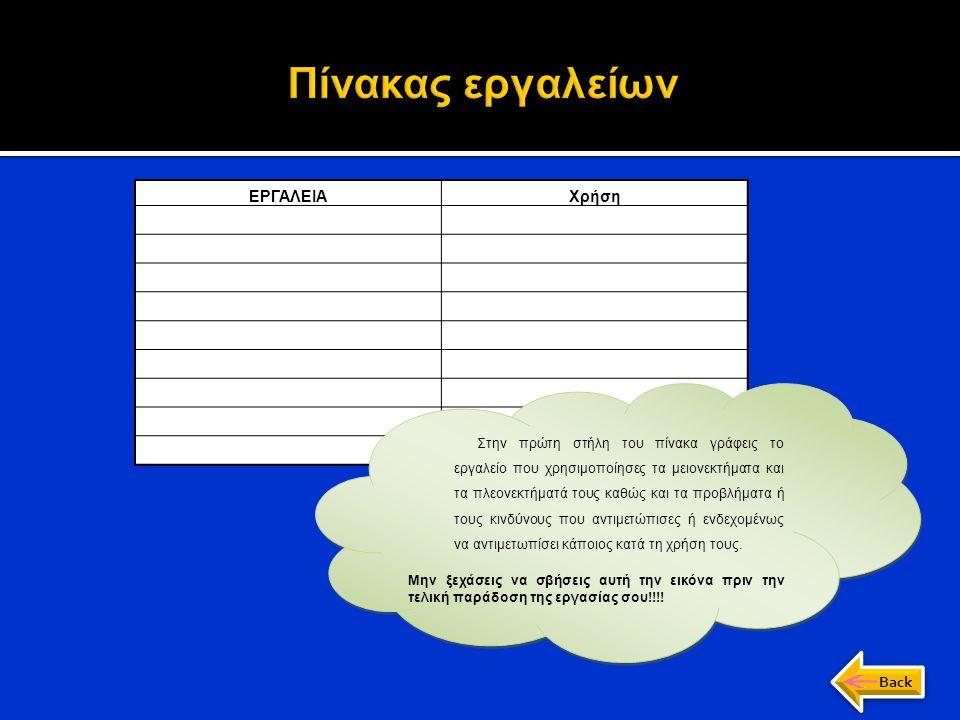 Πίνακας εργαλείων α) Κατάλογος εργαλείων ΕΡΓΑΛΕΙΑ Χρήση Back