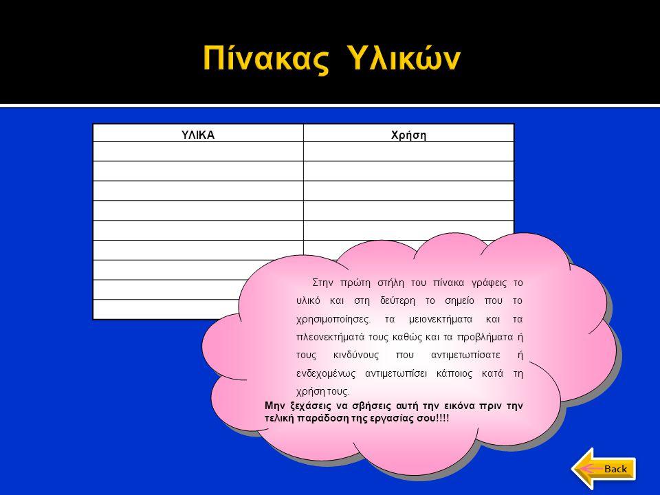 Πίνακας Υλικών α) Κατάλογος εργαλείων ΥΛΙΚΑ Χρήση Back