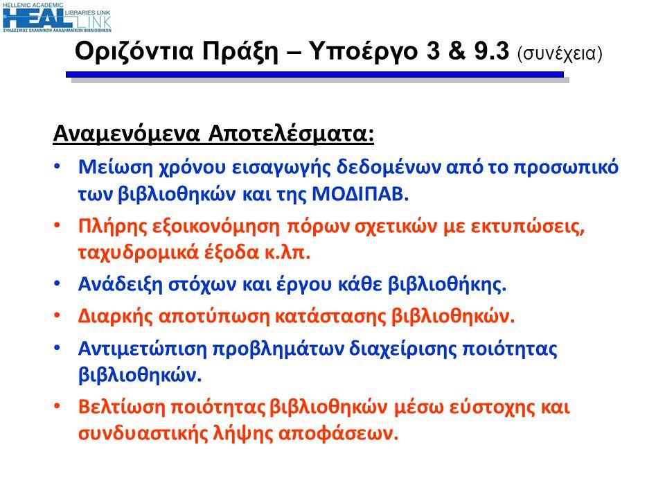 Οριζόντια Πράξη – Υποέργο 3 & 9.3 (συνέχεια)
