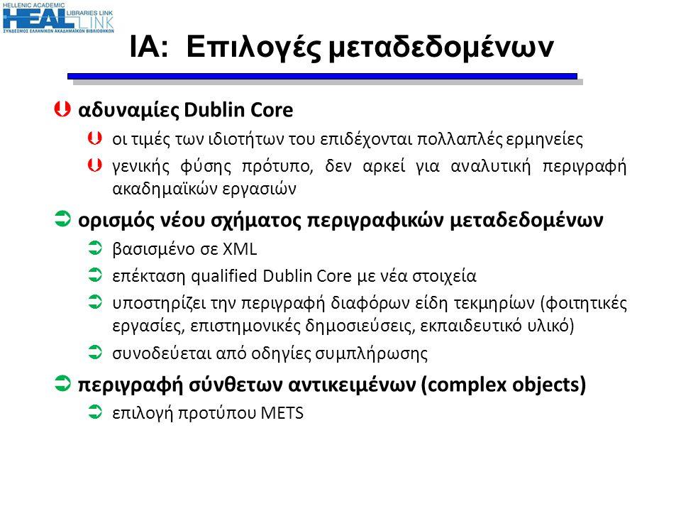 ΙΑ: Επιλογές μεταδεδομένων