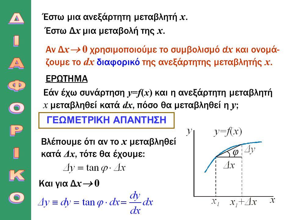 ΔΙΑΦΟΡΙΚΟ φ Έστω μια ανεξάρτητη μεταβλητή x.