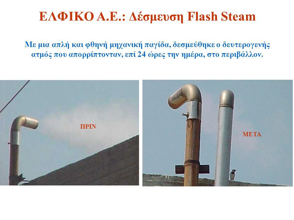 ΕΛΦΙΚΟ Α.Ε.: Δέσμευση Flash Steam Με μια απλή και φθηνή μηχανική παγίδα, δεσμεύθηκε ο δευτερογενής ατμός που απορρίπτονταν, επί 24 ώρες την ημέρα, στο περιβάλλον.