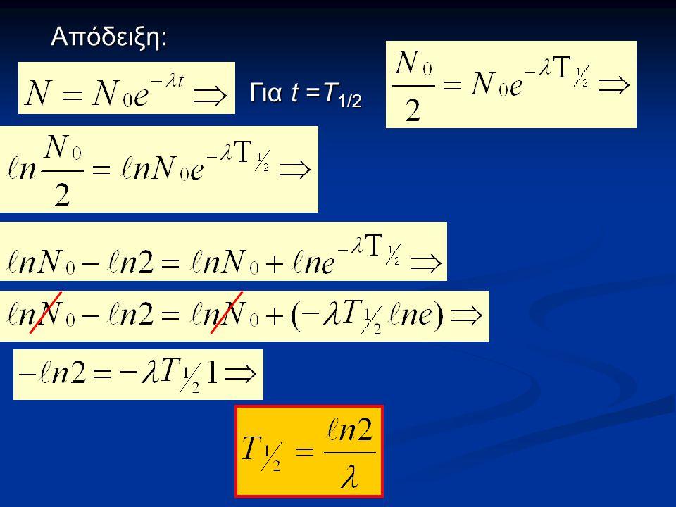 Απόδειξη: Για t =Τ1/2