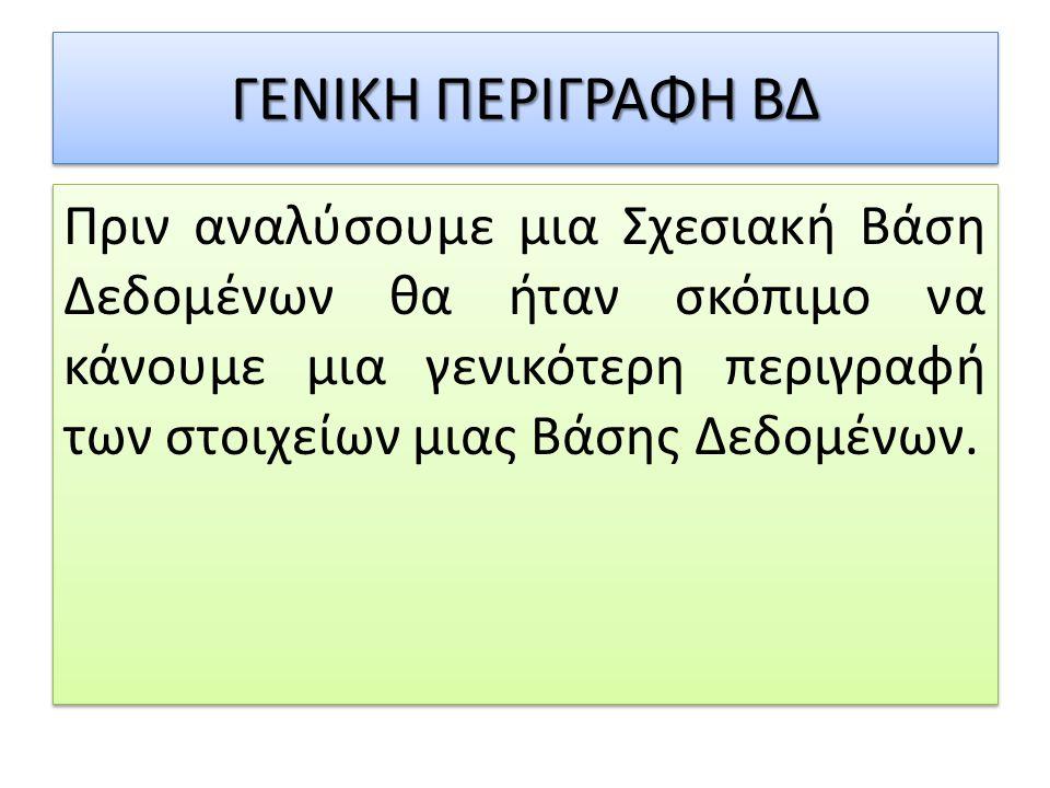ΓΕΝΙΚΗ ΠΕΡΙΓΡΑΦΗ ΒΔ