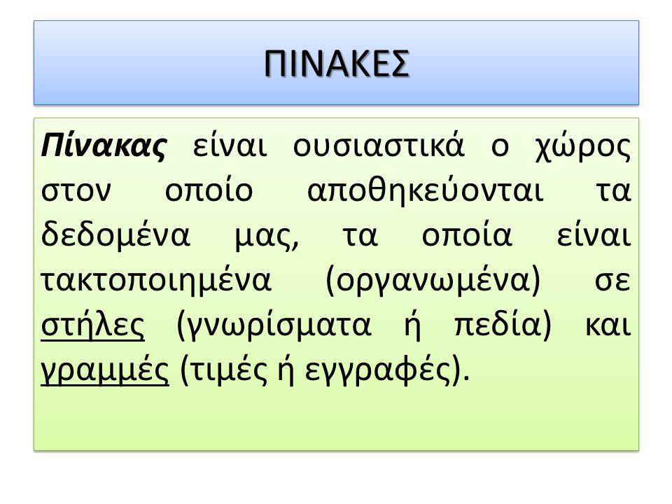ΠΙΝΑΚΕΣ