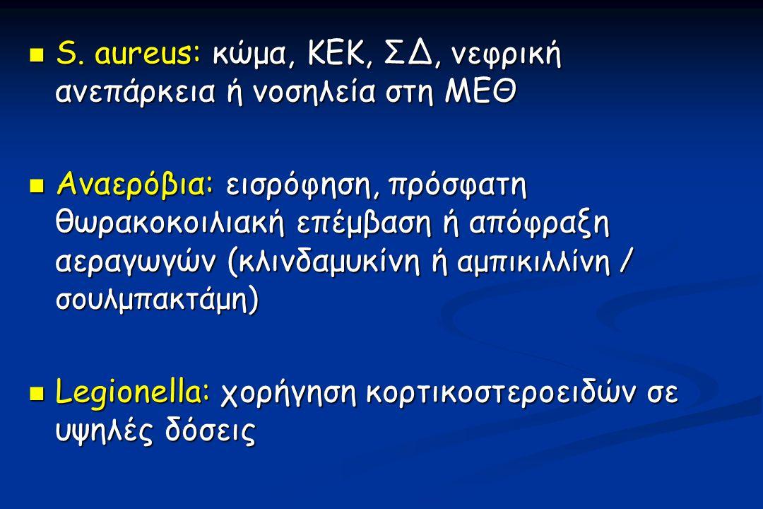 S. aureus: κώμα, ΚΕΚ, ΣΔ, νεφρική ανεπάρκεια ή νοσηλεία στη ΜΕΘ