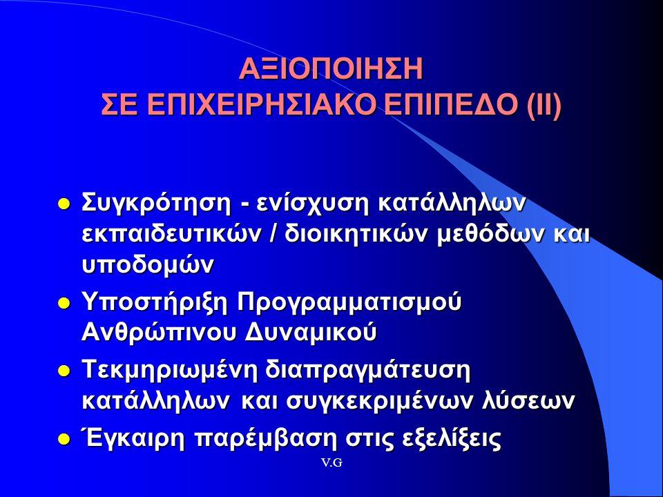 ΑΞΙΟΠΟΙΗΣΗ ΣΕ ΕΠΙΧΕΙΡΗΣΙΑΚΟ ΕΠΙΠΕΔΟ (ΙΙ)