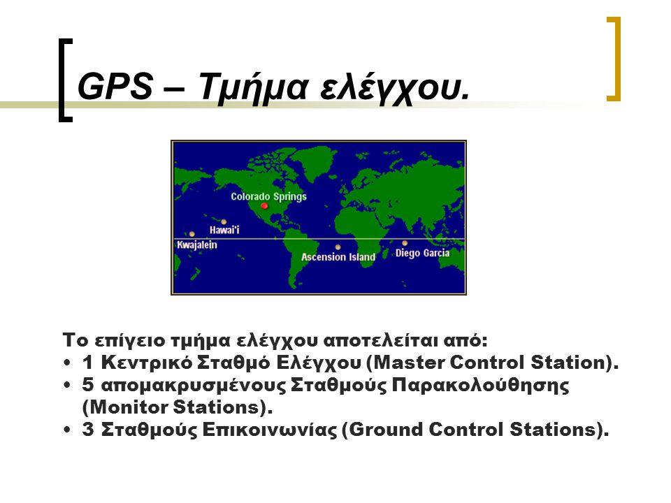 GPS – Τμήμα ελέγχου. Το επίγειο τμήμα ελέγχου αποτελείται από: