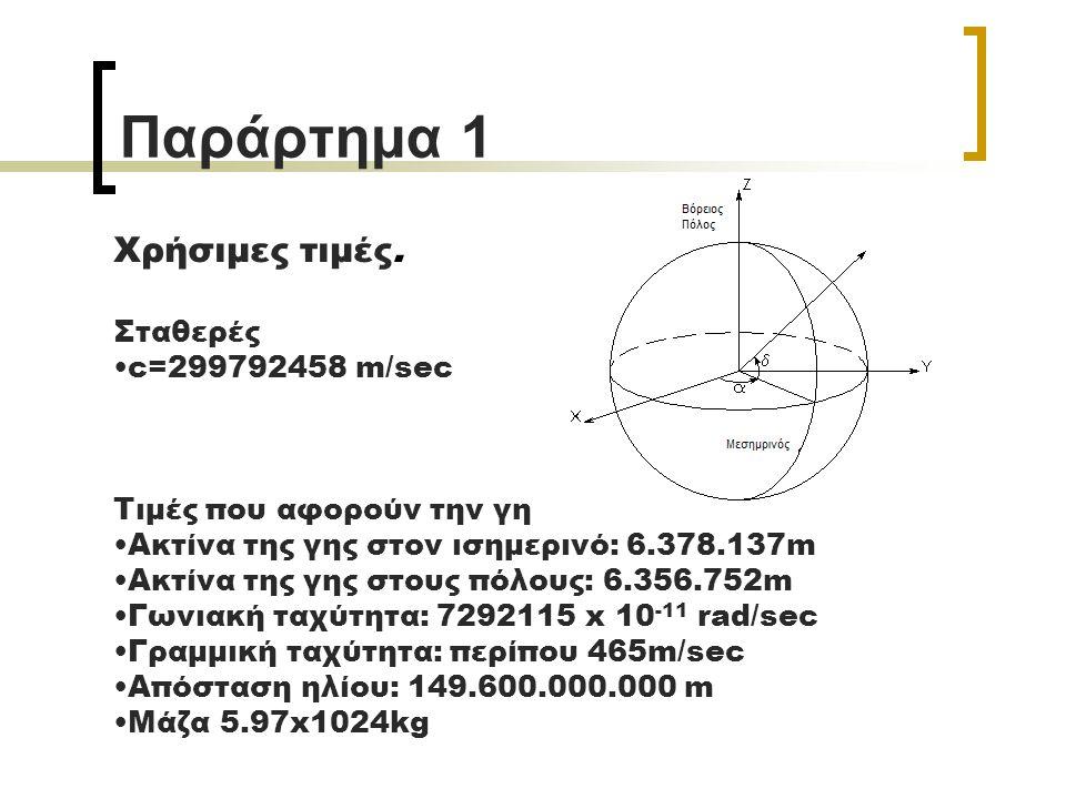 Παράρτημα 1 Χρήσιμες τιμές. Σταθερές c=299792458 m/sec