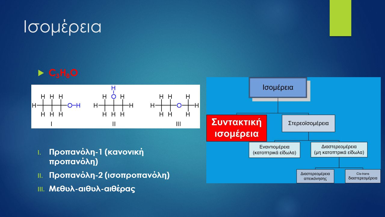 Ισομέρεια C3H8O Προπανόλη-1 (κανονική προπανόλη)