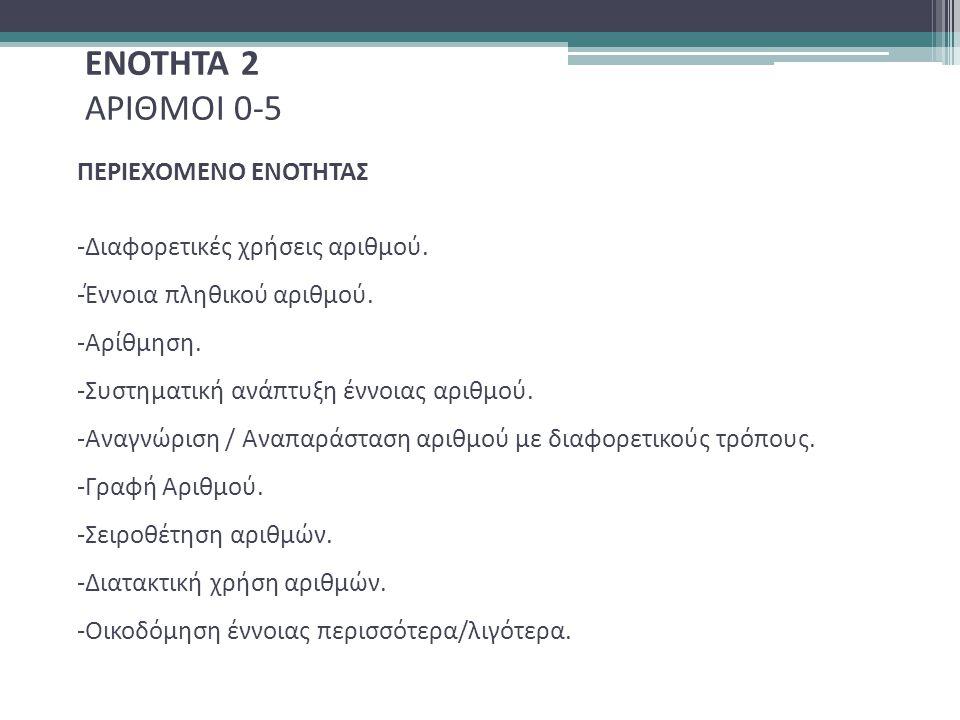 ΕΝΟΤΗΤΑ 2 ΑΡΙΘΜΟΙ 0-5 ΠΕΡΙΕΧΟΜΕΝΟ ΕΝΟΤΗΤΑΣ