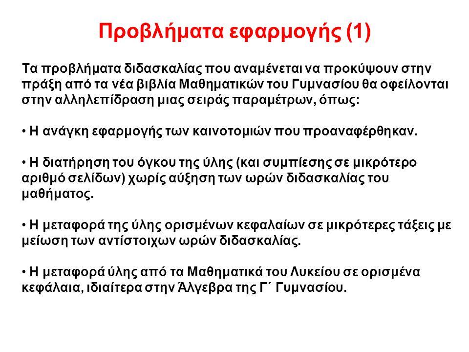 Προβλήματα εφαρμογής (1)