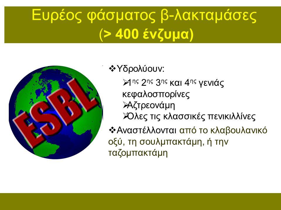 Ευρέoς φάσματος β-λακταμάσες (> 400 ένζυμα)