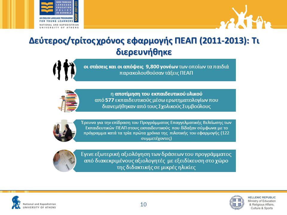 Δεύτερος/τρίτος χρόνος εφαρμογής ΠΕΑΠ (2011-2013): Τι διερευνήθηκε