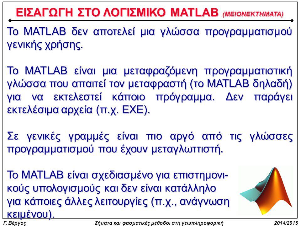 ΕΙΣΑΓΩΓΗ ΣΤΟ ΛΟΓΙΣΜΙΚΟ MATLAB (MEIOΝΕΚΤΗΜΑΤΑ)