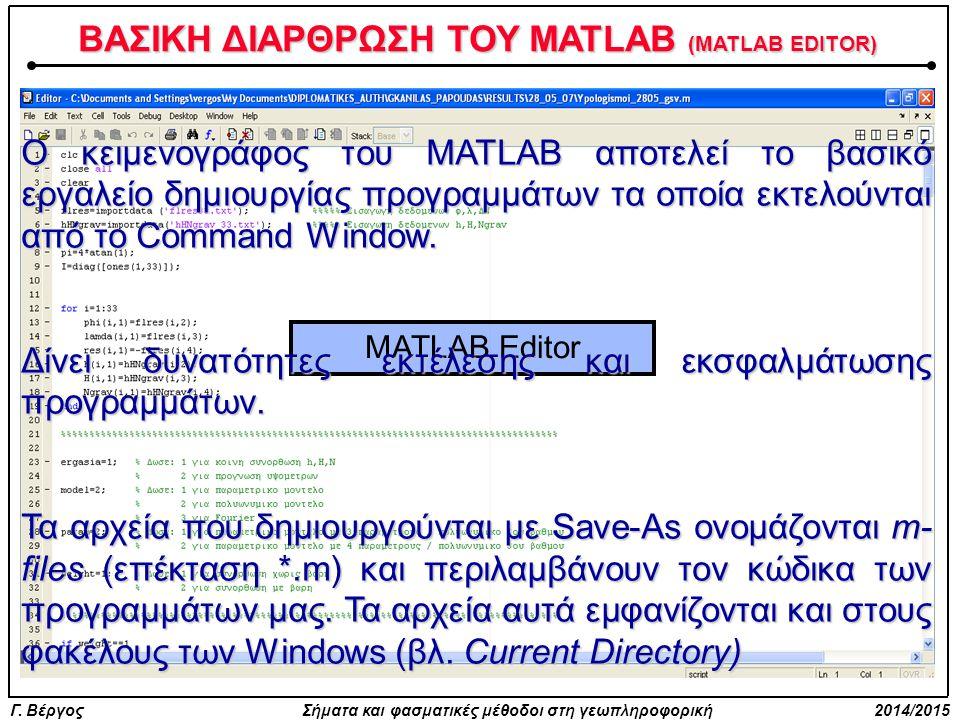 ΒΑΣΙΚΗ ΔΙΑΡΘΡΩΣΗ ΤΟΥ MATLAB (MATLAB EDITOR)
