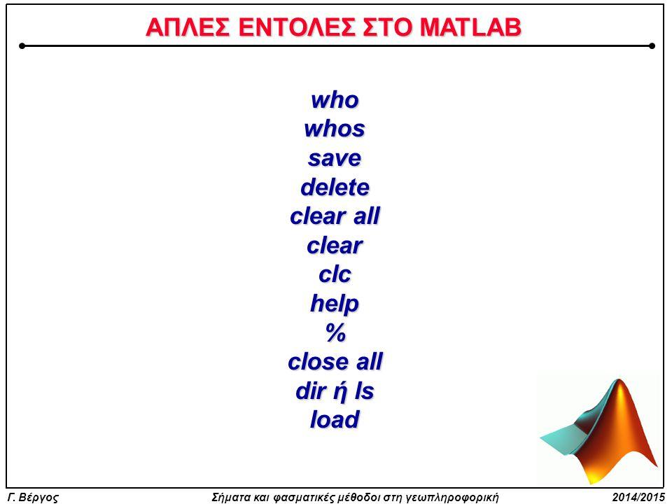 ΑΠΛΕΣ ΕΝΤΟΛΕΣ ΣΤΟ MATLAB