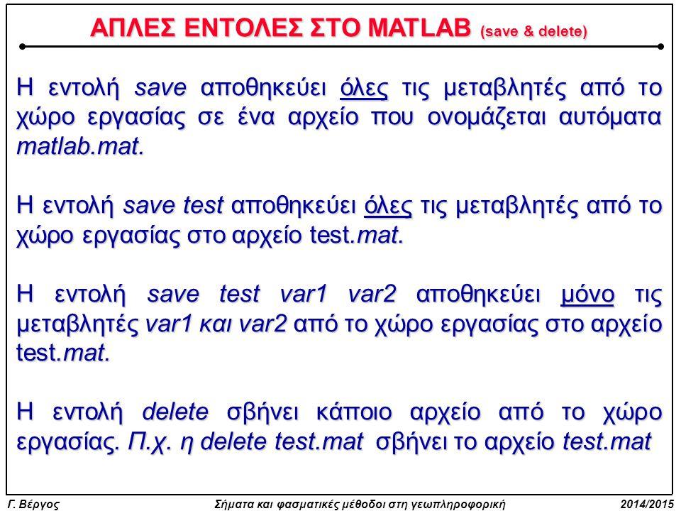 ΑΠΛΕΣ ΕΝΤΟΛΕΣ ΣΤΟ MATLAB (save & delete)