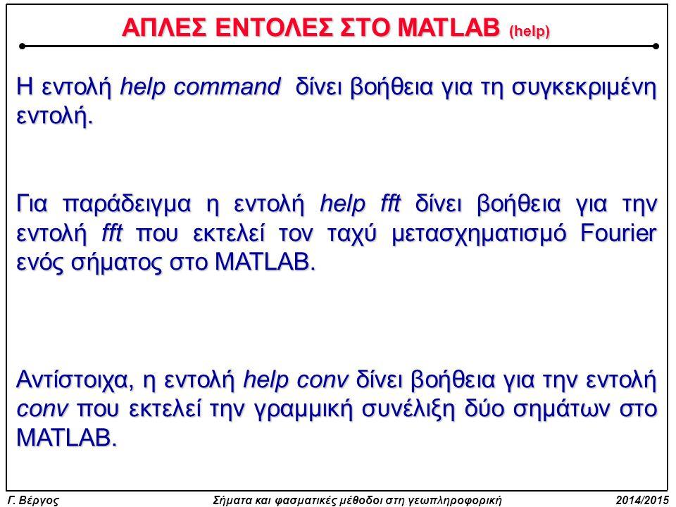 ΑΠΛΕΣ ΕΝΤΟΛΕΣ ΣΤΟ MATLAB (help)