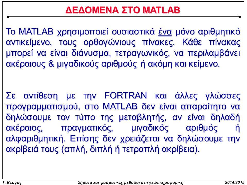 ΔΕΔΟΜΕΝΑ ΣΤΟ MATLAB
