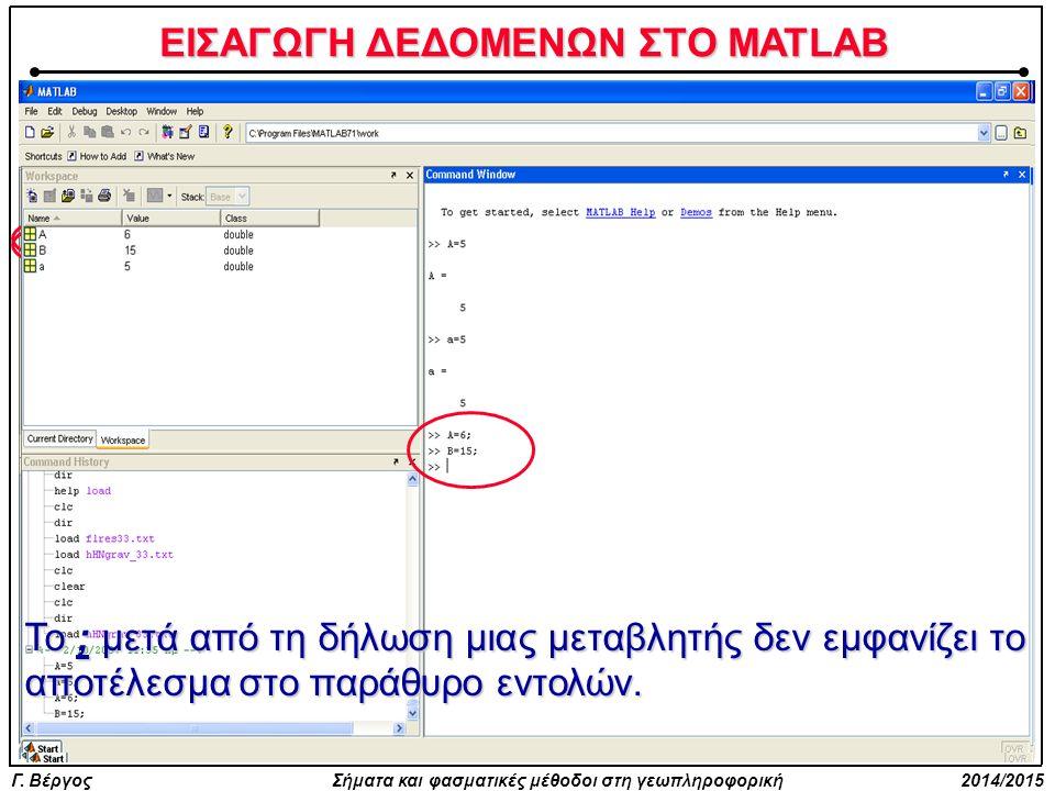 ΕΙΣΑΓΩΓΗ ΔΕΔΟΜΕΝΩΝ ΣΤΟ MATLAB