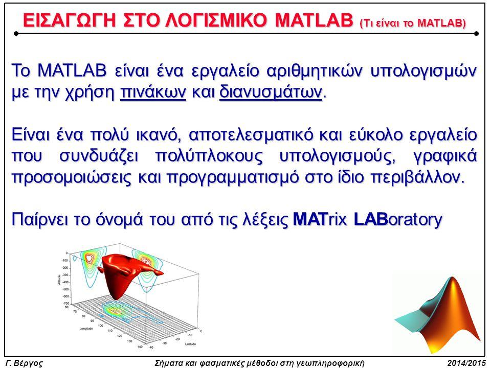 ΕΙΣΑΓΩΓΗ ΣΤΟ ΛΟΓΙΣΜΙΚΟ MATLAB (Τι είναι το MATLAB)