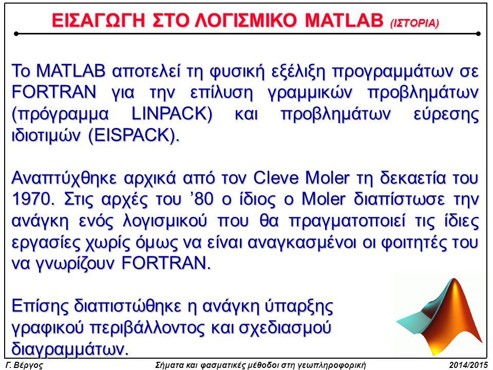 ΕΙΣΑΓΩΓΗ ΣΤΟ ΛΟΓΙΣΜΙΚΟ MATLAB (ΙΣΤΟΡΙΑ)