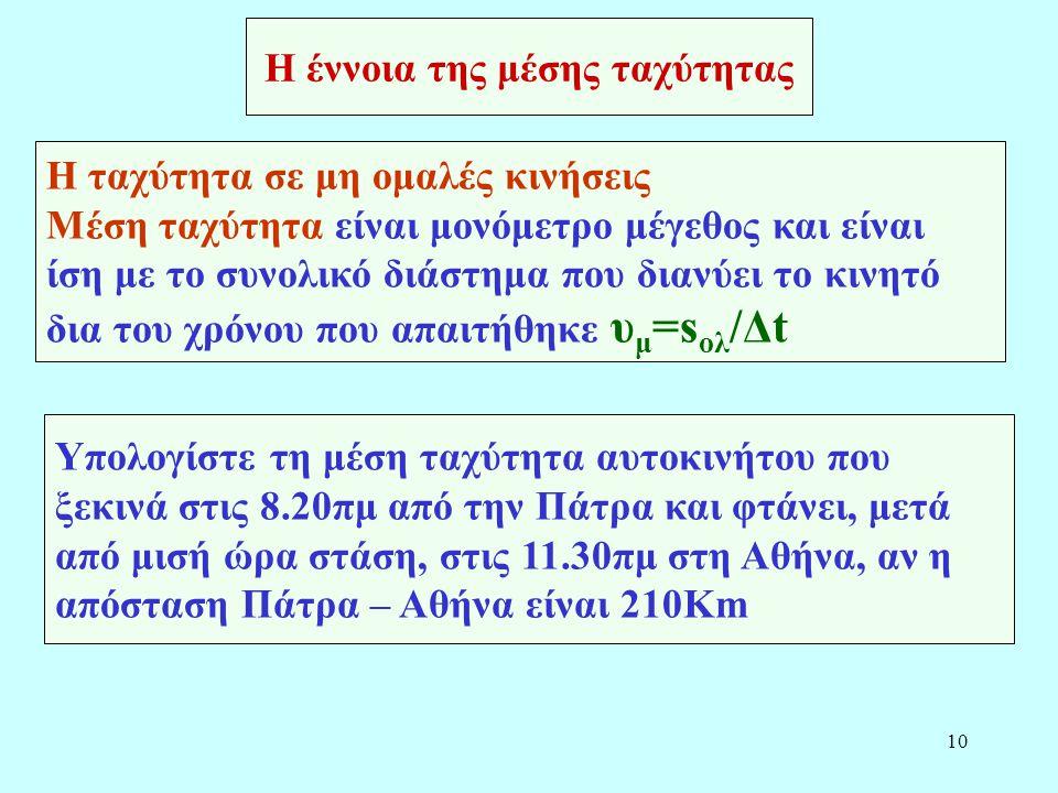 Η έννοια της μέσης ταχύτητας