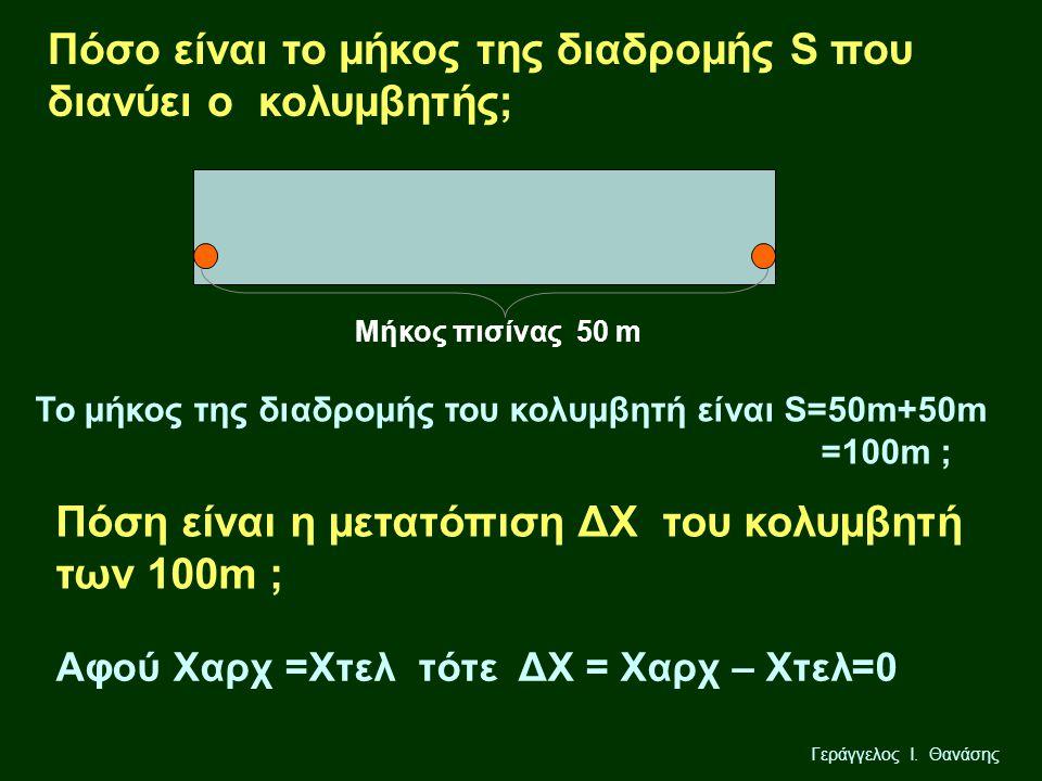 Πόσo είναι το μήκος της διαδρομής S που διανύει ο κολυμβητής;