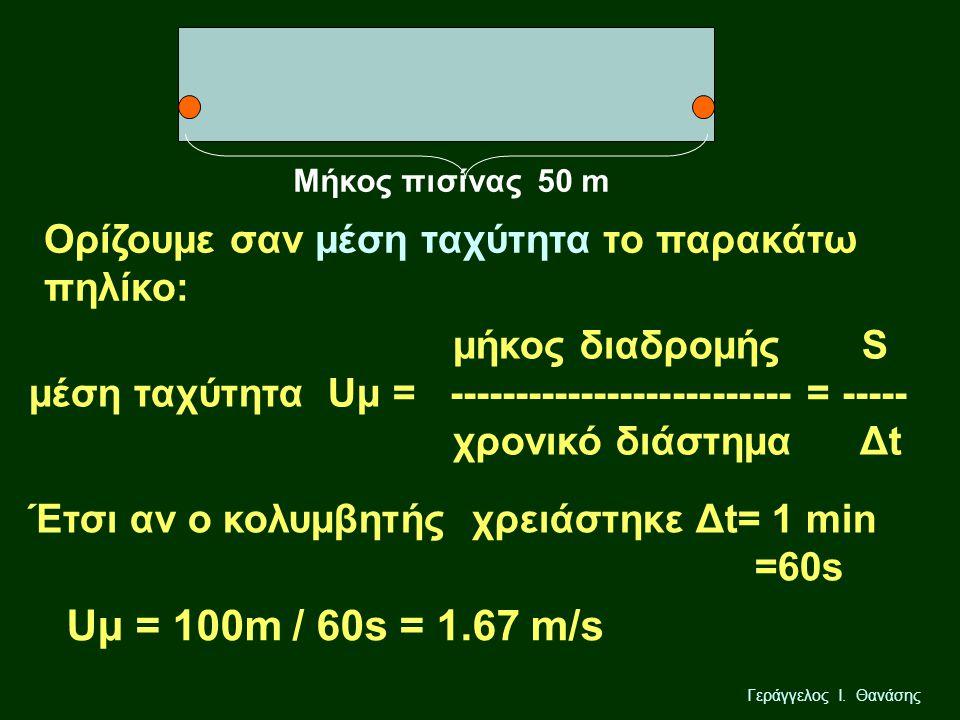 Μήκος πισίνας 50 m Ορίζουμε σαν μέση ταχύτητα το παρακάτω πηλίκο: μήκος διαδρομής S μέση ταχύτητα Uμ = -------------------------- = -----