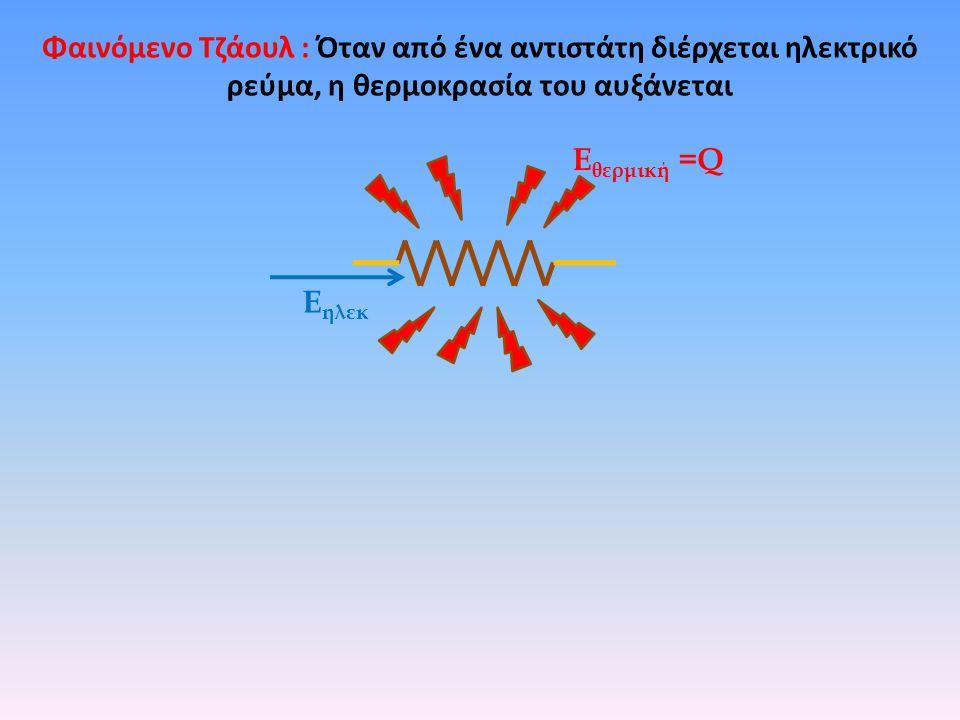Φαινόμενο Τζάουλ : Όταν από ένα αντιστάτη διέρχεται ηλεκτρικό ρεύμα, η θερμοκρασία του αυξάνεται