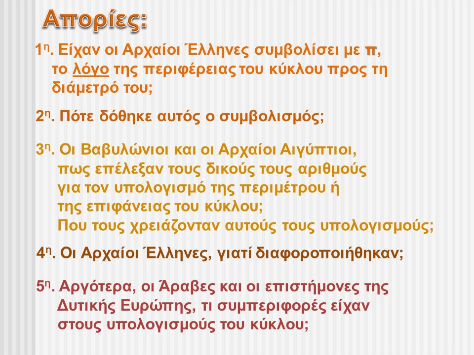Απορίες: 1η. Είχαν οι Αρχαίοι Έλληνες συμβολίσει με π,