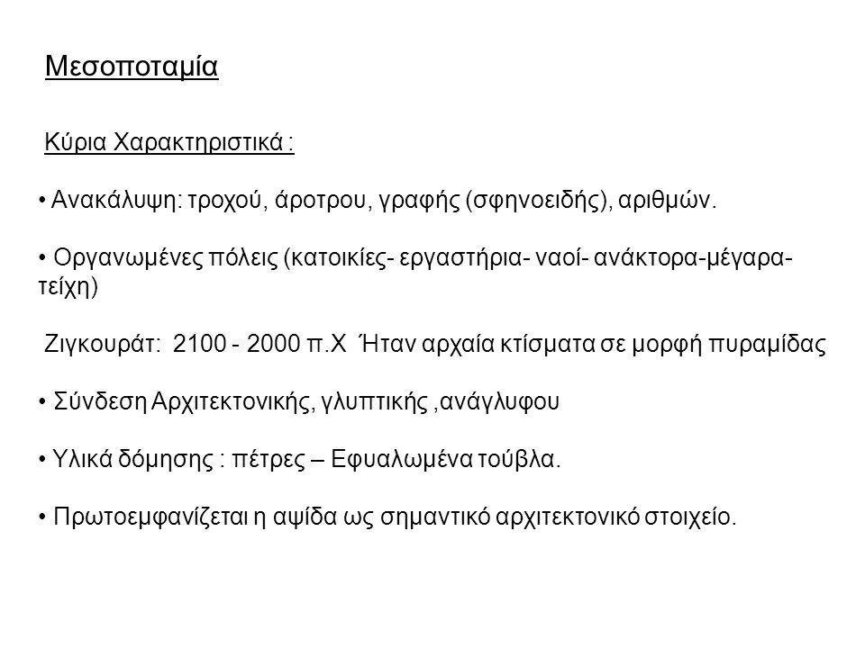 Μεσοποταμία Κύρια Χαρακτηριστικά :