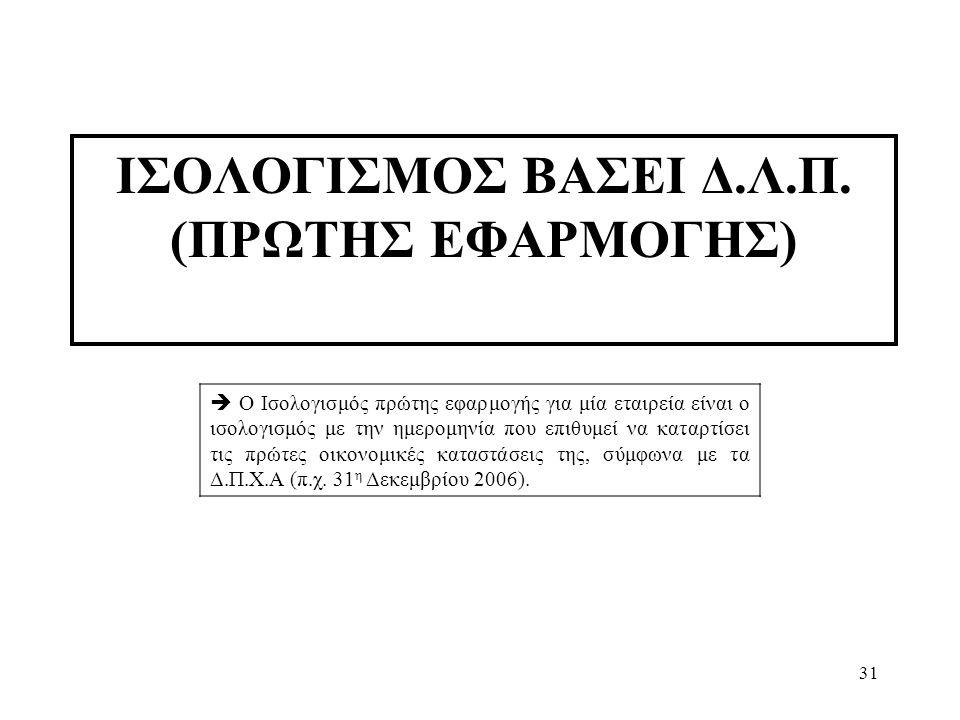 ΙΣΟΛΟΓΙΣΜΟΣ ΒΑΣΕΙ Δ.Λ.Π. (ΠΡΩΤΗΣ ΕΦΑΡΜΟΓΗΣ)