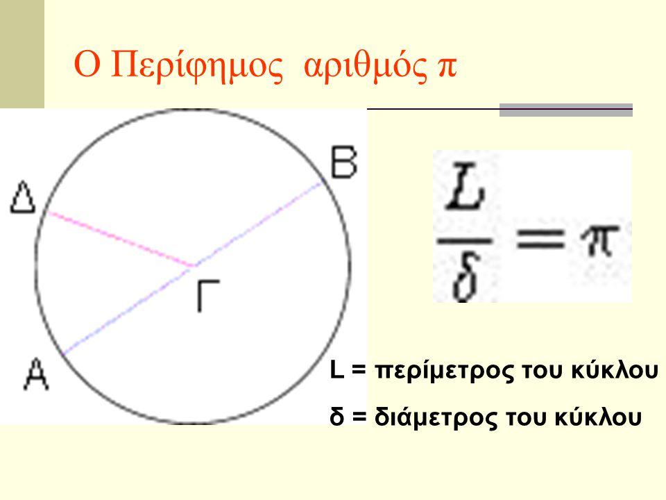 Ο Περίφημος αριθμός π L = περίμετρος του κύκλου