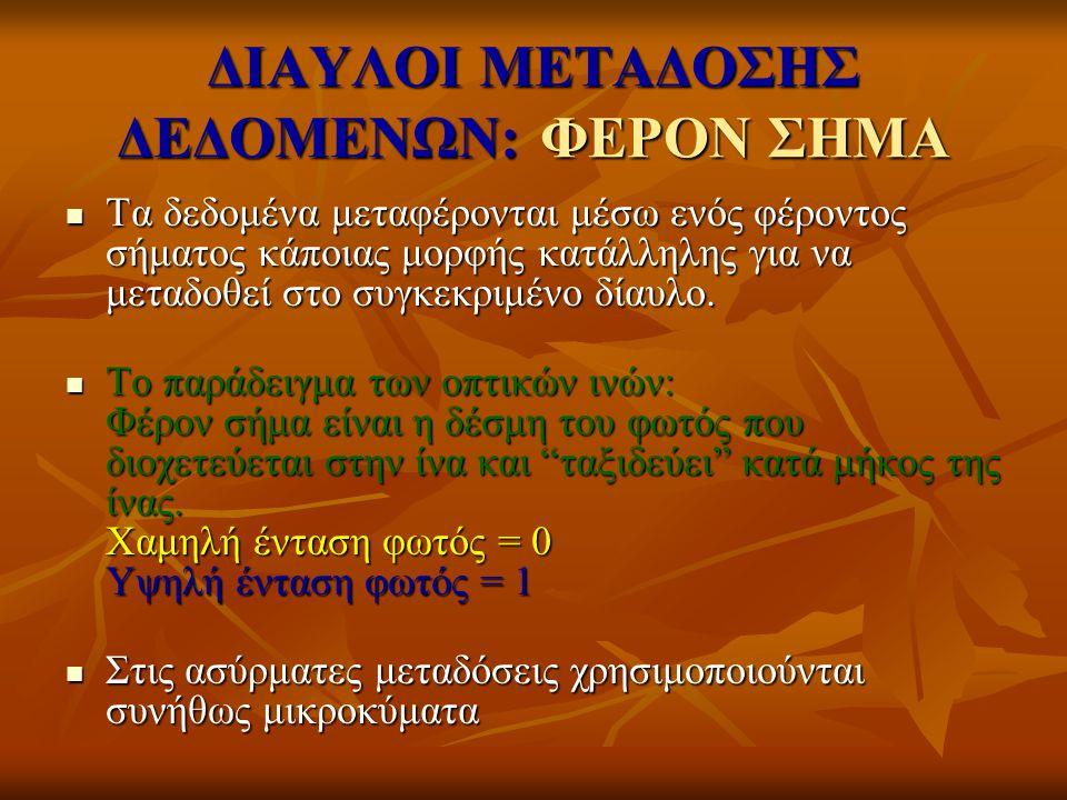 ΔΙΑΥΛΟΙ ΜΕΤΑΔΟΣΗΣ ΔΕΔΟΜΕΝΩΝ: ΦΕΡΟΝ ΣΗΜΑ