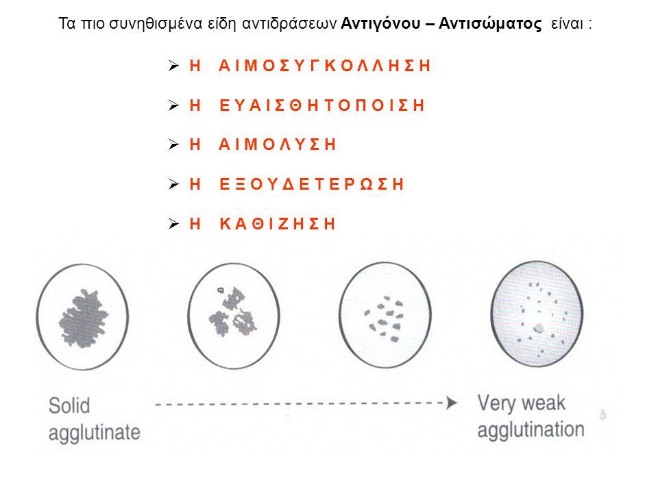 Τα πιο συνηθισμένα είδη αντιδράσεων Αντιγόνου – Αντισώματος είναι :