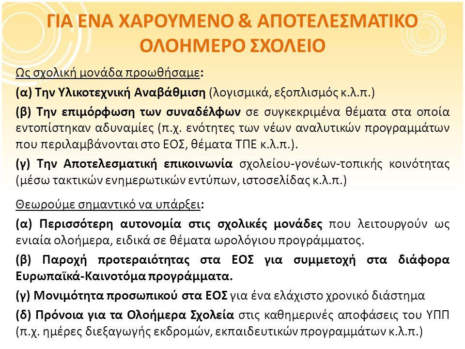 ΓΙΑ ΕΝΑ ΧΑΡΟΥΜΕΝΟ & ΑΠΟΤΕΛΕΣΜΑΤΙΚΟ ΟΛΟΗΜΕΡΟ ΣΧΟΛΕΙΟ