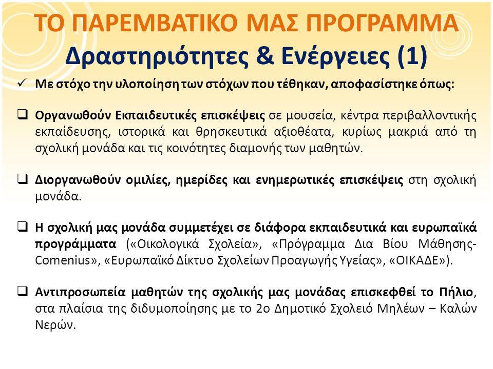 ΤΟ ΠΑΡΕΜΒΑΤΙΚΟ ΜΑΣ ΠΡΟΓΡΑΜΜΑ Δραστηριότητες & Ενέργειες (1)