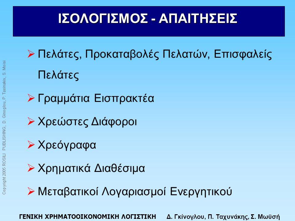 ΙΣΟΛΟΓΙΣΜΟΣ - ΑΠΑΙΤΗΣΕΙΣ