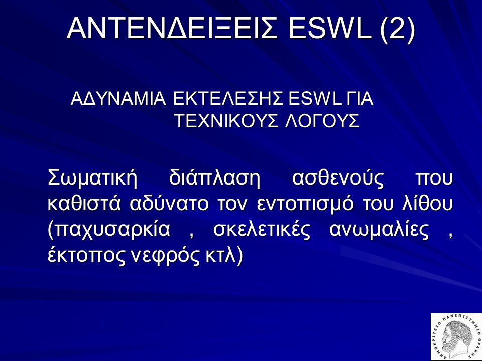 AΝΤΕΝΔΕΙΞΕΙΣ ESWL (2) ΑΔΥΝΑΜΙΑ ΕΚΤΕΛΕΣΗΣ ESWL ΓΙΑ ΤΕΧΝΙΚΟΥΣ ΛΟΓΟΥΣ.