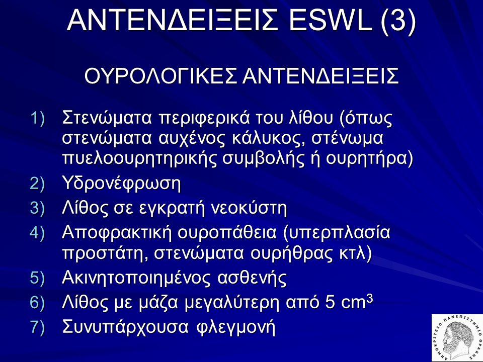 AΝΤΕΝΔΕΙΞΕΙΣ ESWL (3) ΟΥΡΟΛΟΓΙΚΕΣ ΑΝΤΕΝΔΕΙΞΕΙΣ