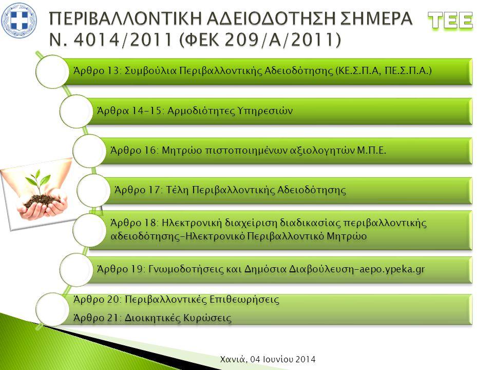 ΠΕΡΙΒΑΛΛΟΝΤΙΚΗ ΑΔΕΙΟΔΟΤΗΣΗ ΣΗΜΕΡΑ Ν. 4014/2011 (ΦΕΚ 209/Α/2011)