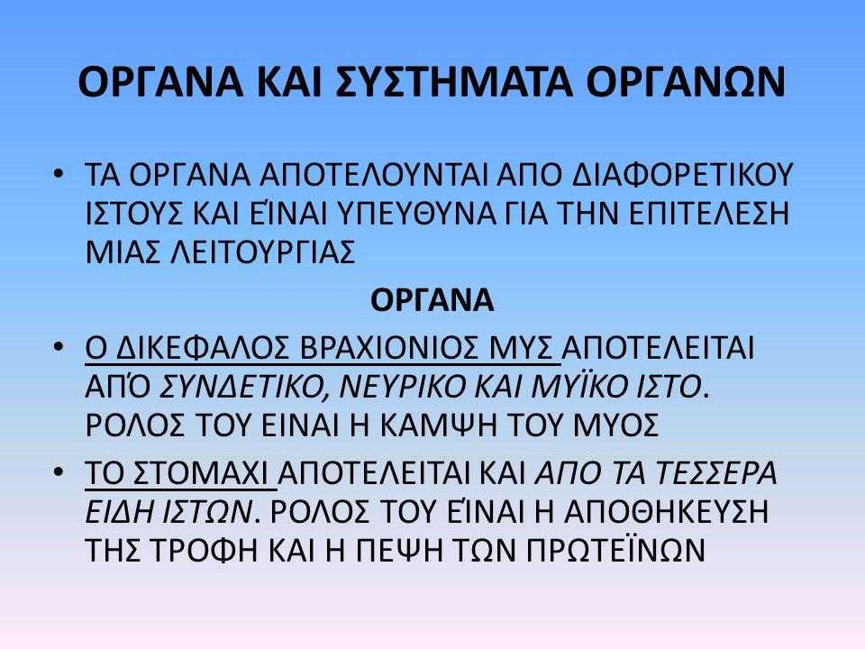 ΟΡΓΑΝΑ ΚΑΙ ΣΥΣΤΗΜΑΤΑ ΟΡΓΑΝΩΝ