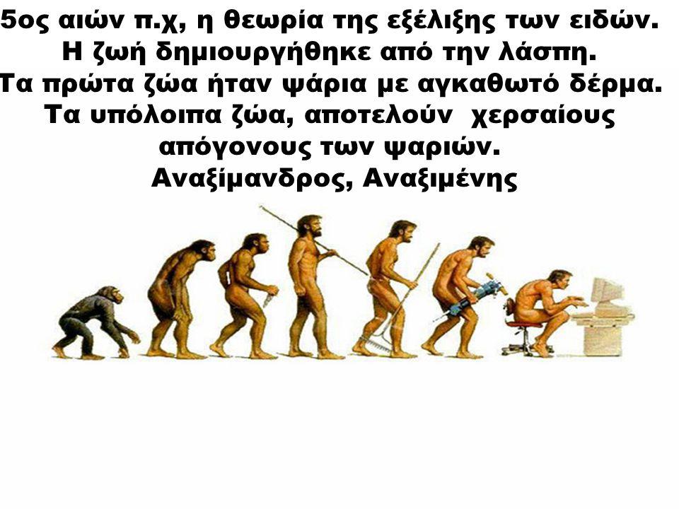 5ος αιών π.χ, η θεωρία της εξέλιξης των ειδών.