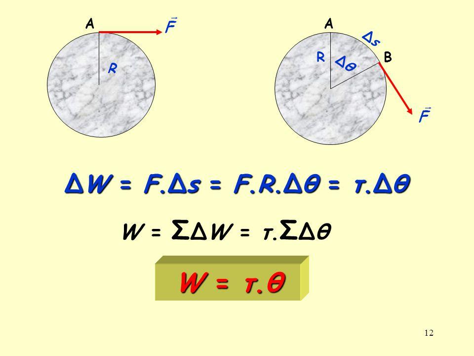 A A Δs R B Δθ R ΔW = F.Δs = F.R.Δθ = τ.Δθ W = ΣΔW = τ.ΣΔθ W = τ.θ