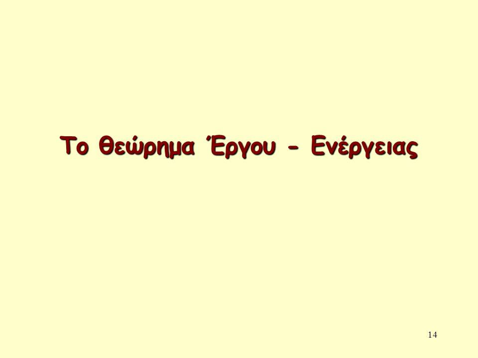 Το θεώρημα Έργου - Ενέργειας